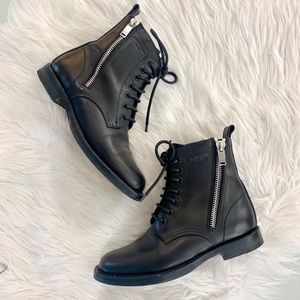 Saint Laurent Ranger Zipper Lace-Up Boots 36